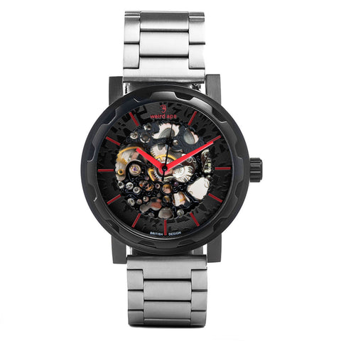 Weird Ape Weird Ape Kolt - Men's Black skeleton watch with Silver strap
