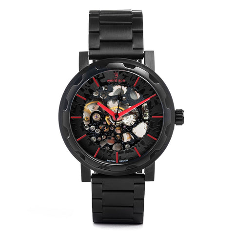 Weird Ape Weird Ape Kolt - Men's Black skeleton watch with Black strap