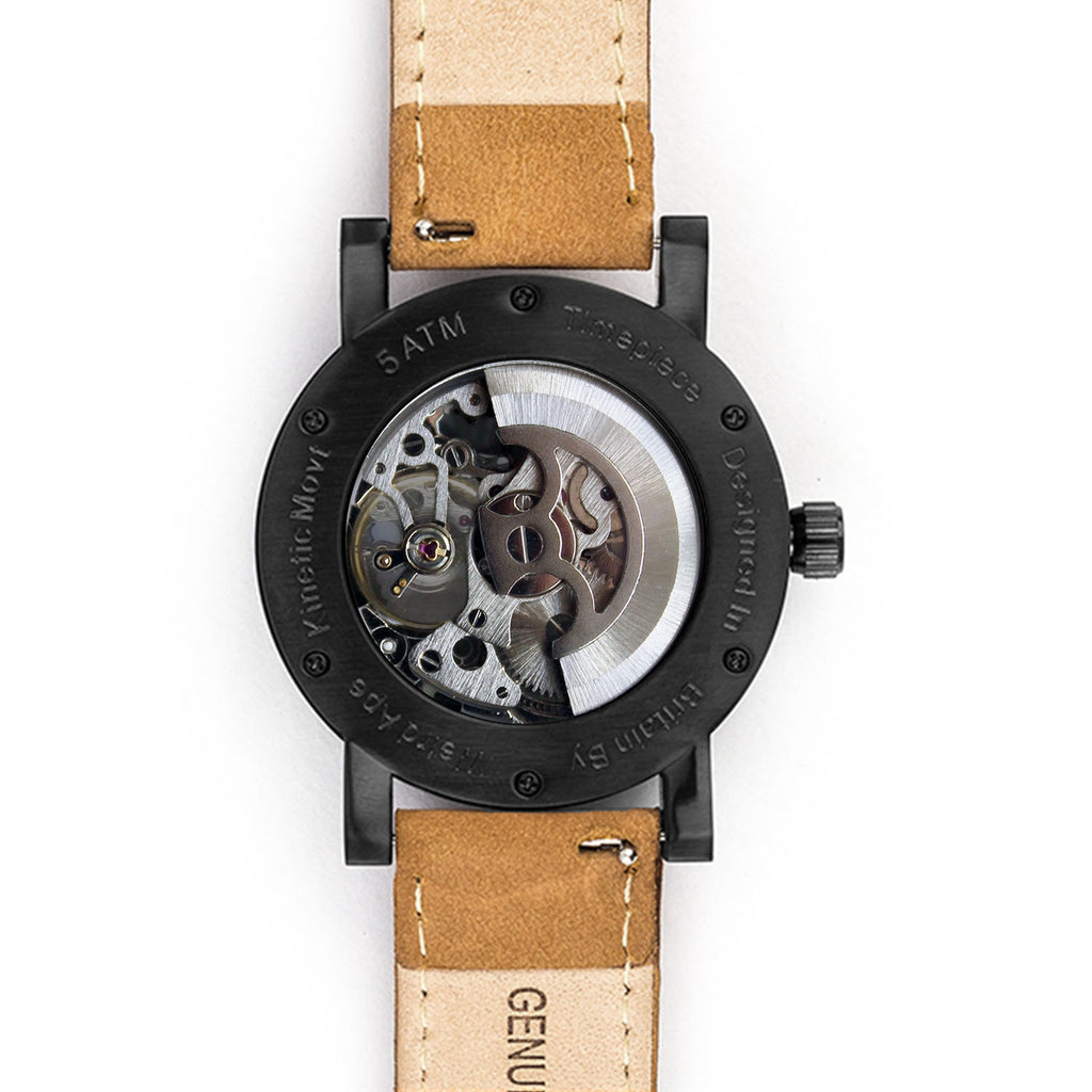 Reverse of black skeleton watch with red hands and tan strap
