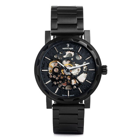 A photo of a Black mechanical watch from our Black skeleton watches.