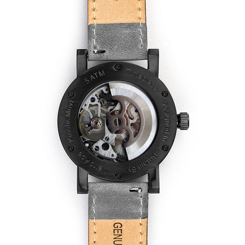 Weird Ape Kolt - Men's Black skeleton watch with Grey strap