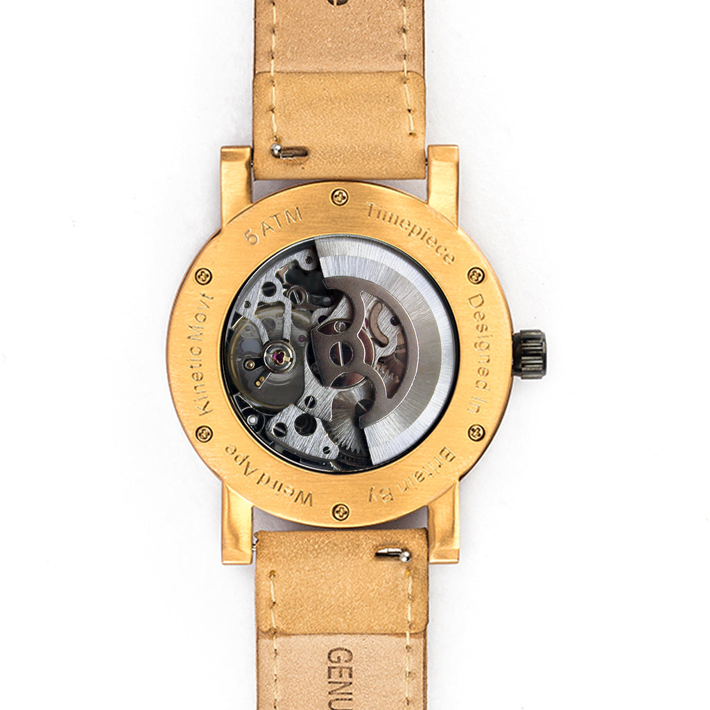 Back of rose gold skeleton watch with tan leather strap showing the mechanical movement.
