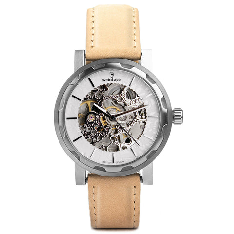 Weird Ape Weird Ape Kolt - Men's Silver skeleton watch with Sandstone strap