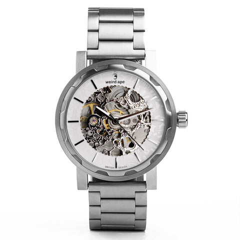 A photo of a Silver mens skeleton watch from our Silver momentum watches.