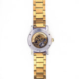 Reverse of gold skeleton watch
