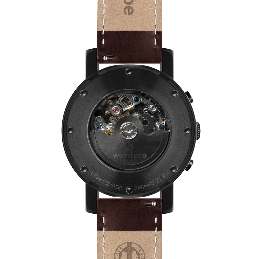 Icarus 3-Dial - All Black / Brown Leather