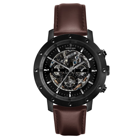 Weird Ape Weird Ape Icarus 3-Dial - Men's Black skeleton watch with Brown strap