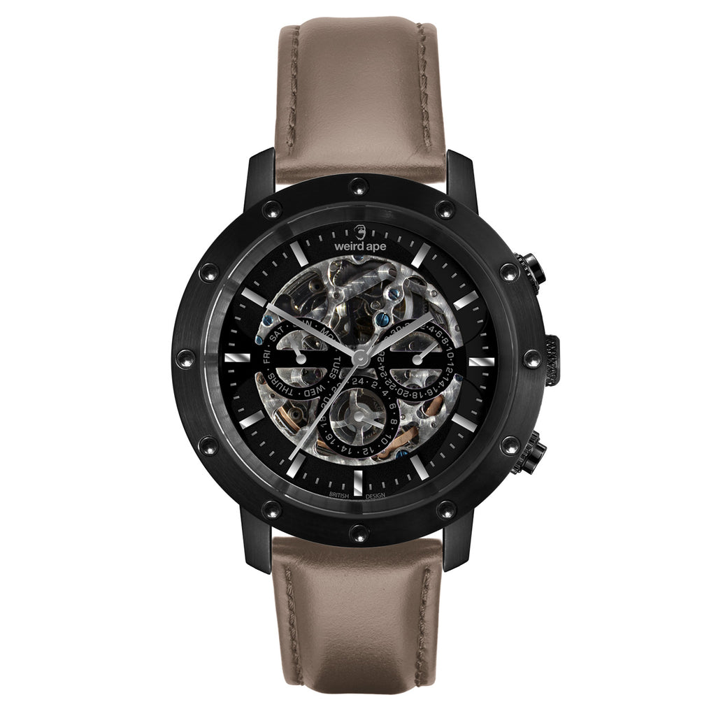 Weird Ape Icarus 3-Dial - Men's Black skeleton watch with Hazelnut strap