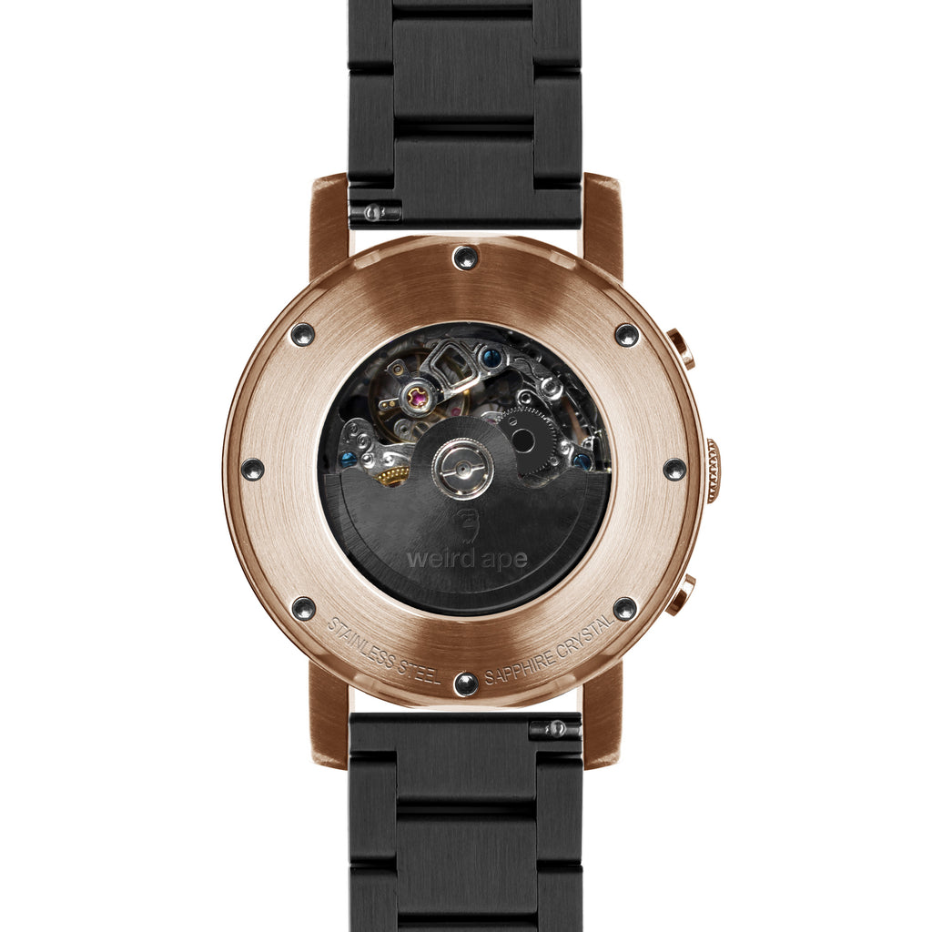 Weird Ape Icarus 3-Dial - Men's Rose gold skeleton watch with Black strap