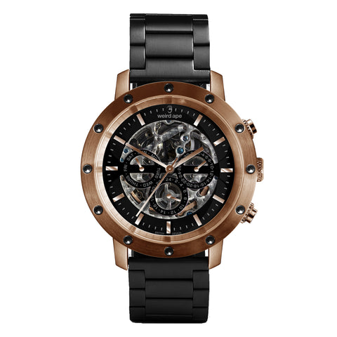 Weird Ape Weird Ape Icarus 3-Dial - Men's Rose gold skeleton watch with Black strap