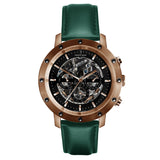 Weird Ape Icarus 3-Dial - Men's Rose gold skeleton watch with Dark Teal strap