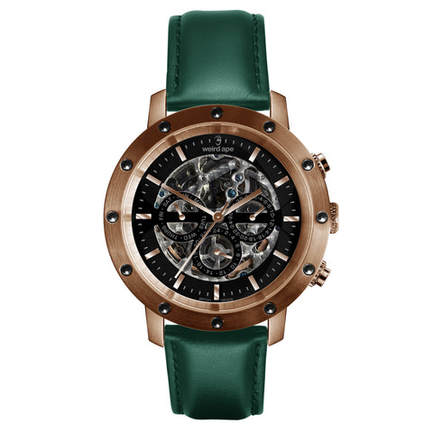 Icarus 3-Dial - Black Rose Gold / Dark Teal Leather