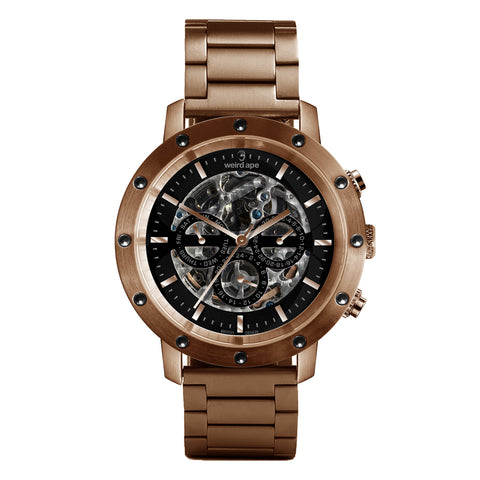 Weird Ape Weird Ape Icarus 3-Dial - Men's Rose gold skeleton watch with Rose gold strap