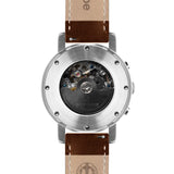 Weird Ape Icarus 3-Dial - Men's Silver skeleton watch with Oak strap