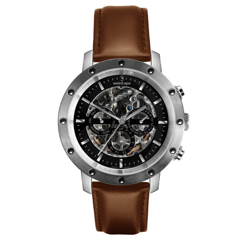 Weird Ape Weird Ape Icarus 3-Dial - Men's Silver skeleton watch with Oak strap