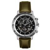 Weird Ape Icarus 3-Dial - Men's Silver skeleton watch with Olive Green strap