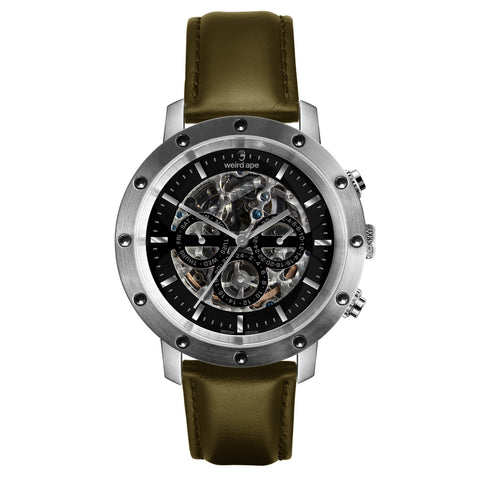 Weird Ape Weird Ape Icarus 3-Dial - Men's Silver skeleton watch with Olive Green strap