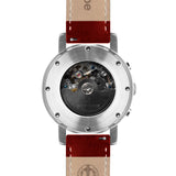 Weird Ape Icarus 3-Dial - Men's Silver skeleton watch with Red strap