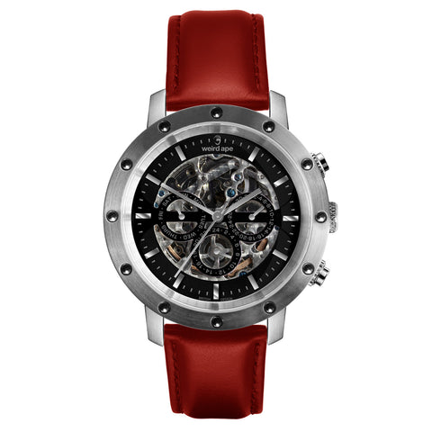 Weird Ape Weird Ape Icarus 3-Dial - Men's Silver skeleton watch with Red strap