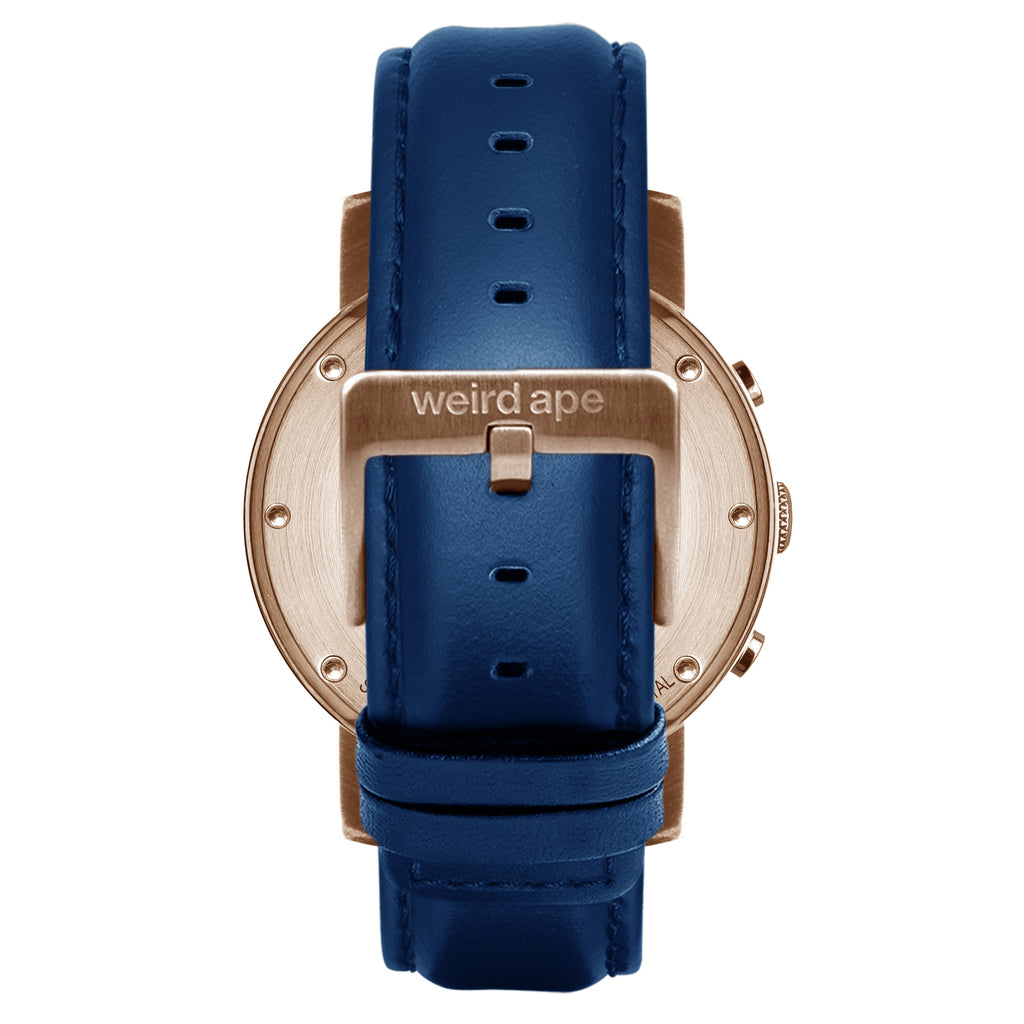 Icarus 3-Dial - Blue Rose Gold / Indigo Blue Leather