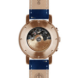 Weird Ape Icarus 3-Dial - Men's Rose gold skeleton watch with Indigo Blue strap