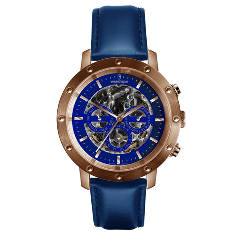 Weird Ape Weird Ape Icarus 3-Dial - Men's Rose gold skeleton watch with Indigo Blue strap