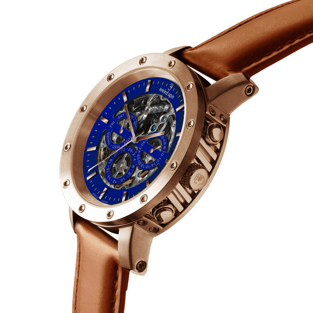 Weird Ape Icarus 3-Dial - Men's Rose gold skeleton watch with Tan strap
