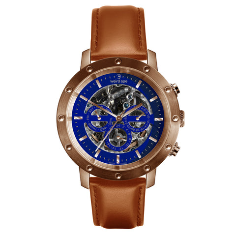 Icarus 3-Dial - Blue Rose Gold / Tan Leather