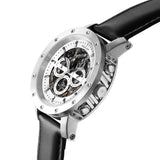 Weird Ape Icarus 3-Dial - Men's Silver skeleton watch with Black strap