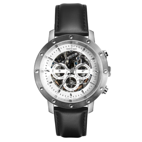 Icarus 3-Dial - White Silver / Black Leather