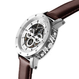 Weird Ape Icarus 3-Dial - Men's Silver skeleton watch with Brown strap