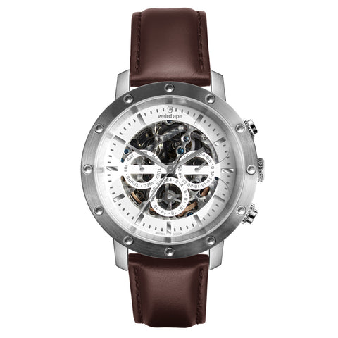 Weird Ape Weird Ape Icarus 3-Dial - Men's Silver skeleton watch with Brown strap