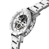 Weird Ape Icarus 3-Dial - Men's Silver skeleton watch with Silver strap