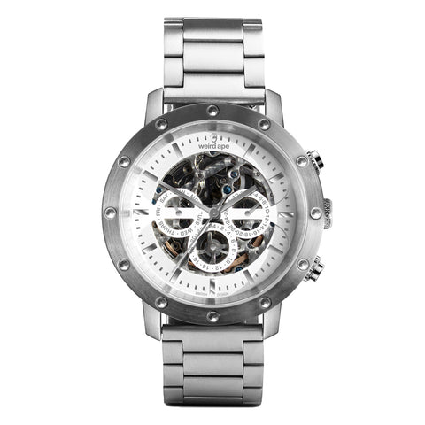 Weird Ape Weird Ape Icarus 3-Dial - Men's Silver skeleton watch with Silver strap