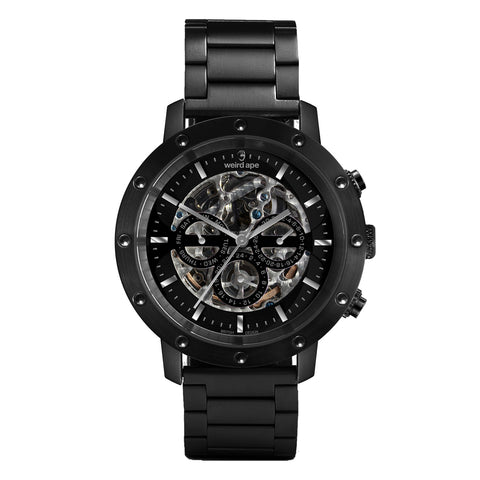 Weird Ape Weird Ape Icarus 3-Dial - Men's Black skeleton watch with Black strap