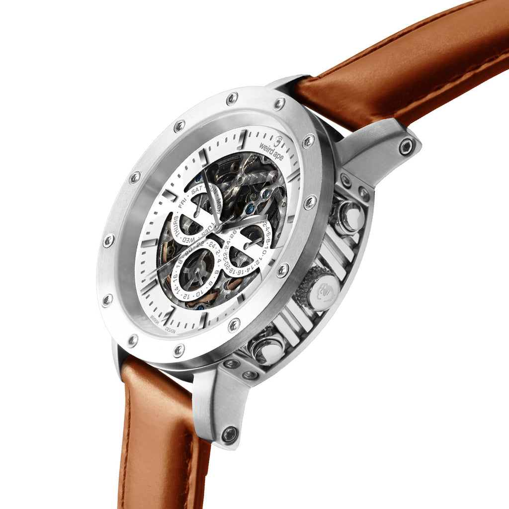 Weird Ape Icarus 3-Dial - Men's Silver skeleton watch with Tan strap