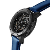 Weird Ape Icarus 3-Dial - Men's Black skeleton watch with Indigo Blue strap