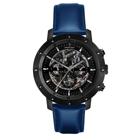 Icarus 3-Dial - All Black / Indigo Blue Leather