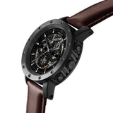 Weird Ape Icarus 3-Dial - Men's Black skeleton watch with Brown strap
