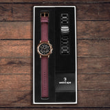 Icarus 3-Dial Black Rose Gold Gift Box