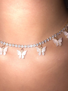 (Gold) White Pearly Butterfly Choker - ShopStarCrew