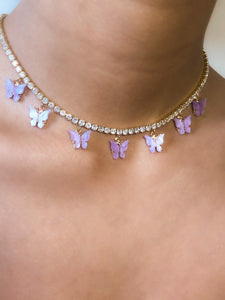 (Gold) Lavender Pearly Butterfly Choker - ShopStarCrew