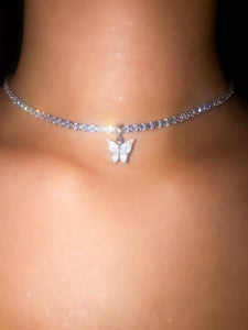 (Silver) Single White Butterfly Pearly Choker - ShopStarCrew