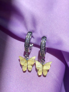 (925 Silver) Yellow Pearly Butterfly Huggies - ShopStarCrew