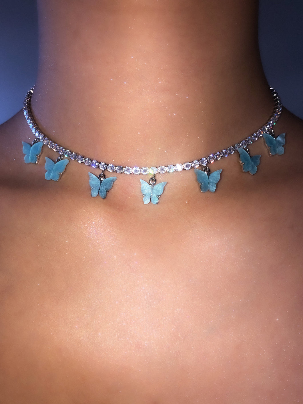 (Silver) Blue Pearly Butterfly Choker - ShopStarCrew