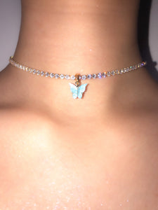 (Gold) Single Blue Pearly Butterfly Choker - ShopStarCrew