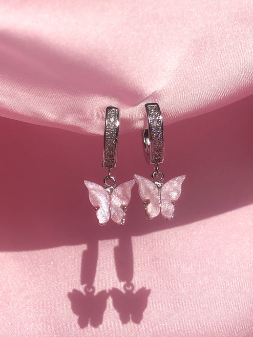 (925 Silver) Pink Pearly Butterfly Huggies - ShopStarCrew