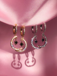 Crescent Star Huggie Hoops - ShopStarCrew