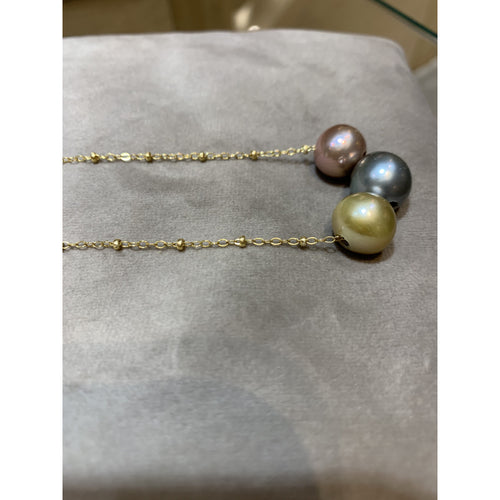 Rainbow Triple Pearl Necklace Goldfill chain