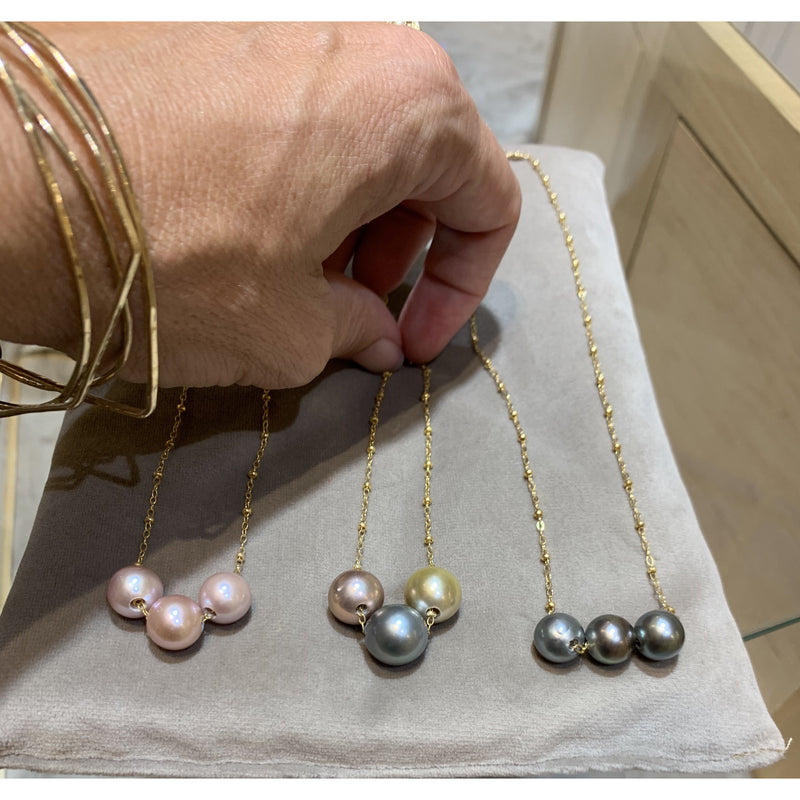 Triple Floating Tahitian Pearl Necklace
